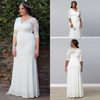 Wholesale Cheapest T Shirt White - Custom Fit Cheapest Price Wedding Dresses Chiffon Lace Pleated Vestidos Half Sleeves Long V-neck Plus Size Robe De Mariage