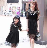 Wholesale Womans Fashion Black Dresses - Mother and daughter clothes girls gauze embroidery princess dress womans half sleeve lace collar dress 2017 fashion Family clothes T1903