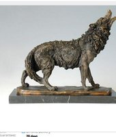 Wholesale Antique Western Bronze - Vintage CRAFTS ARTS ATLIE BRONZES Western Styles antiques Howling wild Wolf Bronze Statue animal sculpture signed by Milo