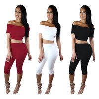 Wholesale Hot Sell Women Summer White Strapless Sexy Short Sleeved Slash Neck Two Piece Pant Clothing Explosion
