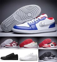 Wholesale Popular Retro Basketball Shoes - Popular Air Retro 1 Mens Basketball Shoes lows Boots OG Black White Red Reyol Blue top quality Sneakers Sports Shoes Athletic sneaker