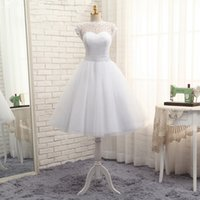 A-Line knee length wedding dresses - Summer Beach Wedding Dresses Cap Sleeves Bridal Gowns A line Knee length Wedding Gowns Fast Shipping