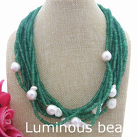 "Wholesale Purple Jade Faceted - FC060506 FC060210 FC060405 FC060107 20"" 10 Strands Faceted Green Blue Purple Jade White Keshi Pearl Necklace"