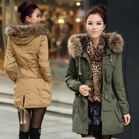 Wholesale Military Jacket Wool Woman - Winter coat female army green military long thickening and ms wool cotton-padded jacket in winter jacket cotton-padded clothes