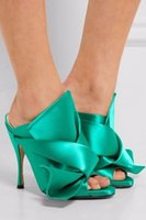 Wholesale Bow Ties Womens - Green White Yellow Satin Slippers Women Big Bow Tie High heels Slip on Stage Show Party Sandals Summer Shoes Womens Slides