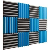Wholesale Fireproofing Foam - Newest Fireproof 30*30*5 Acoustic Wedge Foam Absorption Soundproofing Tiles - Blue Black - 12 Pack