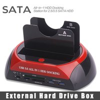 "Wholesale Dock Station S - Wholesale- All In One HDD Docking Station Dual 2.5"" 3.5"" Two SATA External HDD Box USB3.0 Transmission Speed 5GB s 3.0 Card Reader 70Mb s"