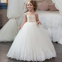Wholesale Kids Pink Corset - Scoop Neckline Long Pageant Party Dress for Little Girls 8 10 12 Corset Puffy Lace Tulle Ball Gown Kids Prom Dress Children 2017