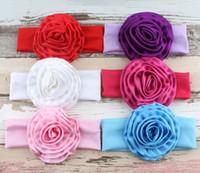 Wholesale Sculptured Bows - holiday ribbon sculpture bows hair ribbon clip flower heads you choose color girls hair bows ribbons elastic hair bands Baby rose head ha