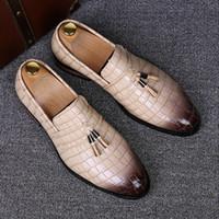 Wholesale Alligator Cap - England designer brand casual wedding party dress alligator genuine leather shoes slip on flats shoe oxfords tassel loafers male