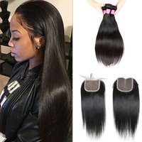 Wholesale Malaysian Hair Bundles For Sale - Brazilian Lace Closure for Sale Malaysian Closure Hair Bundles Peruvian Mongolian Indian Cambodian Virgin Human Hair Straight with Closure