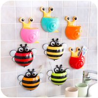 Vente en gros - 1Pc Snail / Bee Cartoon Sucker Brosse à dents Holder Cute Suction Hook Tooth Brush Cup Tool Accessoires de salle de bain