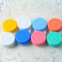 lentes para os olhos venda por atacado-Plástico Portátil Mini Lente de Contato Caso Lente de Contato Container Titular da Lente Com Espelho Fácil de Transportar Para O Cuidado Dos Olhos