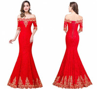 Wholesale Elegant Red Evening Dresses - Red Elegant Full Lace Mermaid Prom Dresses Off the Shoulder Gold Embroidery Corset Back Sexy Evening Gowns Cheap Long Bridesmaid Dresses