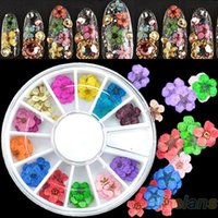 Wholesale Nail Stickers Dried Flowers - Wholesale- 36pcs 3D Nail Art Sticker Dried Flower DIY Tips Acrylic Decoration Wheel 7GV6 9K9R