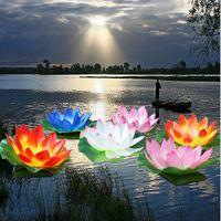 ingrosso luce di loto di seta-Fiori di loto decorazioni artificiali da 20 cm fiore di loto che desiderano lampade di seta della lanterna luce galleggiante dell'acqua per la decorazione del partito di Natale di cerimonia nuziale