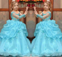 New Arrival Princess Ball Gown Vestidos para desfile de meninas 2017 Beaded Kids Flower Girl Dress Sheer Neck Long Sleeves Wedding Party Gowns