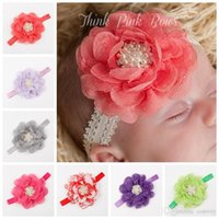 Wholesale Big Chiffon Flowers Baby Headband - Baby Girls Headbands Big Flowers Kids Lace Chiffon Rhinestone Pearl Head bands Children Elastic Hairbands Hair Accessories Headwear KHA83