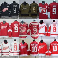d0615da9d Factory Outlet Men's Detroit Red Wings #9 Gordie Howe #10 Delvecchid #11  Alfredsson Green Red Black White New ice hockey jerseys free shippi