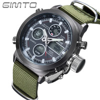 Wholesale Men S Sports Dive Watch - s Dual Display Wristes 2017 GIMTO Brand Diving LED Digital Watch Men Military Sport Wrist watch Waterproof Leather Quartz Watch Clock Rel...