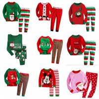 Wholesale Winter Pjs - 2Pcs Kids Boys Girls Santa Claus Christmas Pjs Suit Outfit Set Children Kid Xmas Nightwear Pajamas Sleepwear Tracksuit Clothes