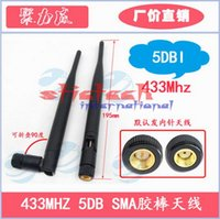 Wholesale Dbi Gsm Antenna - by dhl or ems 200pcs 5 dbi 433Mhz GSM Antenna SMA Male Connector Rubber Aerial Wireless Repeater Free Shipping