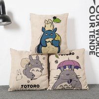 Wholesale Totoro Square Cushion - Wholesale- vintage Cotton Linen creative My Neighbor Totoro Throw Cushion Square Pillow Case Cover kids gift bedding wedding *%