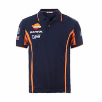 Wholesale Racing Shirts - 2017 2017 Repsol Gas Moto GP Team Polo Shirt Racing Clothing Motorbike Motorcycle T-shirt