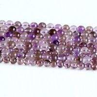 "Wholesale Super Seven Stone - Wholesale Genuine Natural Clear Dark Purple Super Seven Super 7 Round Loose Small Beads Melody Stone Fit Jewelry 16"" 05116"