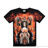 Wholesale Dragon Skull T Shirts - Fashion men death skeleton figures rock t-shirts with Dragon Wolf skull angel short sleeves cotton free shipping