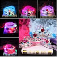 Wholesale Headband Veil Princess - Kids Princess LED Flashing Crown Lace Flower Headband Hairband Veil Birthday Party Hair Accessories Lace Headpiece KKA2689