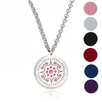 Wholesale Hypoallergenic Pendant Necklace - Aromatherapy Essential Oil Diffuser Necklace Jewelry - Hypoallergenic Surgical Stainless Steel Locket Pendant with 24 Inch Chain Including 6