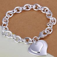 ingrosso braccialetto d'argento doppio collegamento-DHL New Silver Bangle Links Chain Fit Hollow Cuore Doppio cuore Ciondolo Charm Bracciali gioielli per bracciali donna regalo