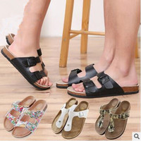 Wholesale Shoe Sandles - 11 Styles Unisex Cork Flip-flops Beach Sandles Summer Beach Slipper Shoe PU Leather Slippers Cool Slipper Casual Sandals CCA5846 20pair