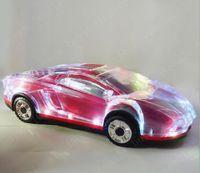 форма автомобиля iphone оптовых-LED Light Car Shape Mini Портативный Bluetooth Wieless Динамик Сабвуфер Поддержка Стерео USB FM-радио MP3 Музыкальный плеер для Samsung S8 Iphone X