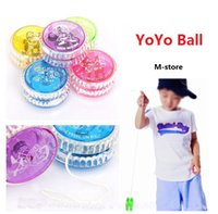 Wholesale Flashing Yoyo - YoYo Ball Luminous Toy New LED Flashing Yo Yo Child Clutch Mechanism Yo-Yo Toys for Kids Party Entertainment Bulk Sale