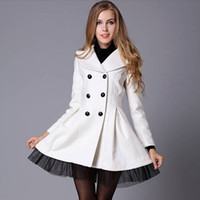 Wholesale Double Breasted Tulle - High Noble Fashion Women Wool Blends Coats 2017 New Hot Sale A line Tulle Long Sleeves Double Button Lapel Neck Elegant Winter Long Jackets