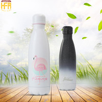 Wholesale Bottled Water Fda - 500Ml Stainless Steel Water Bottle Vacuum Bottle Gradient Color Thermos Portable Bowling Shape Water Bottles Stars Meteor Shower Pattern