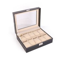 Wholesale Wood Makeup Organizer - Watch Box 10 Grids PU Leather Luxury Jewelry Bracelet Storage Case Display Boxes With Key Makeup Cassette Birthday Gift 36 1zy F