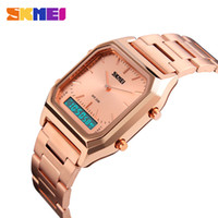 Wholesale Men Rose Gold Watches - SKMEI Gold Watches For Men Digital Dual Time Sport Watches Chronograph Back Light 30M Waterproof Rose Gold LUXURY Watches For Men