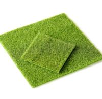 künstliches gras handwerk großhandel-10 Stücke Kunstrasen Rasen 15 * 15 cm Fee Garten Miniatur Gnome Moos Terrarium Dekor Harz Handwerk Bonsai Wohnkultur für DIY