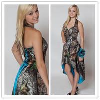 robes de mariée camo bleu achat en gros de-En stock Robes de demoiselle d'honneur camouflage en chêne camo