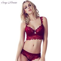 Wholesale Plus Size Bras Panties - Sexy Mousse Women Sexy Bra Set Ultra-thin Red Lace Bra Brief Sets Plus size Brassiere Push up Bra and Panties Set Winter