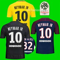 Wholesale Man Sweatsuit - 2017 2018 MBAPPE DANI ALVES Neymar JR Home Soccer Jerseys 17 18 Away Yellow 3rd black VERRATTI Survetement maillot Football Shirt sweatsuit