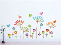 Wholesale Wall Sticker Decal Flower Removeable - * cartoon colorful flower butterfly wall stickers home decor kids room living room bedroom vinyl wall decal removeable wallpaper