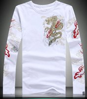 Wholesale Chinese Wind Fish - Chinese wind man domineering dragon fish animal pattern kylin printing and embroidery long sleeved T-shirt shirt repair off white pigalle
