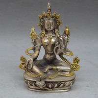 Wholesale Antique Silver Bucket - Tibet Buddhism Silver copper Gilt Green Tara Kwan-Yin Bodhisattva Buddha statue