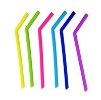 Wholesale christmas drinking straws - 24cm lenght bend straw Food grade silicone gel Drinking straw for christmas Milkshakes Bar Drinks straw Reusable Straws KKA3263