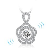 Wholesale jewellery heart stones - Rhoudium plated dancing diamond jewellery necklaces 925 sterling silver dance necklace pendent Womens dancing stone jewelry