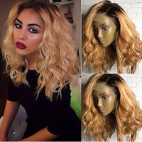 Wholesale Cheap Wigs For Black Women - High Quality Cheap Ombre Wigs 1B 27# Short Bob Curly Wavy Lace Front Wigs Heat Resistant Synthetic Lace Front Wigs for Black Women